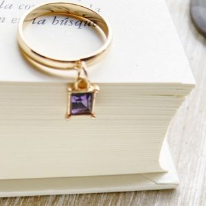PURPLE GOLD CRYSTAL CHARM DANGLE GOLD MIDI RING